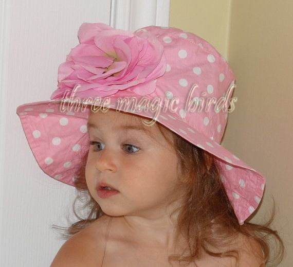 Girl PINK and WHITE Polka DOTs Sun Hat with Adorable PINK Flower,Girl Sun Hat,Baby Girl Sun Hat.
