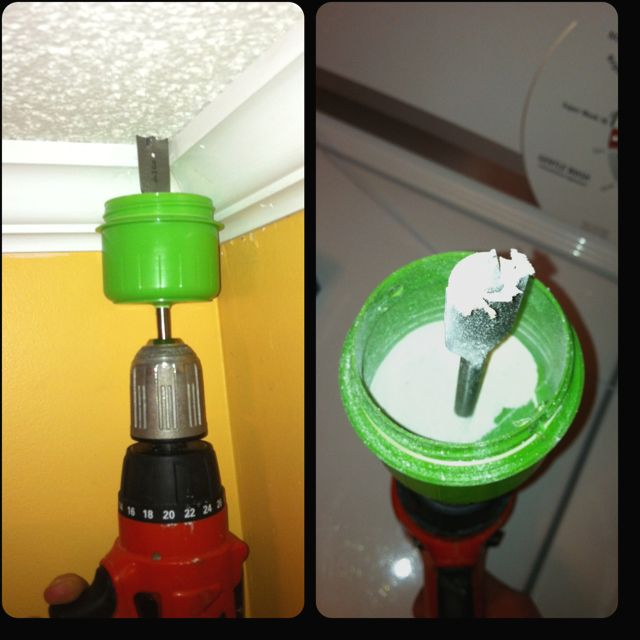 Use a cup from a detergent bottle to catch dust when drilling overhead. I used the pilot point to drill through the bottom of the cup; it caught 99% of the Sheetrock dust.