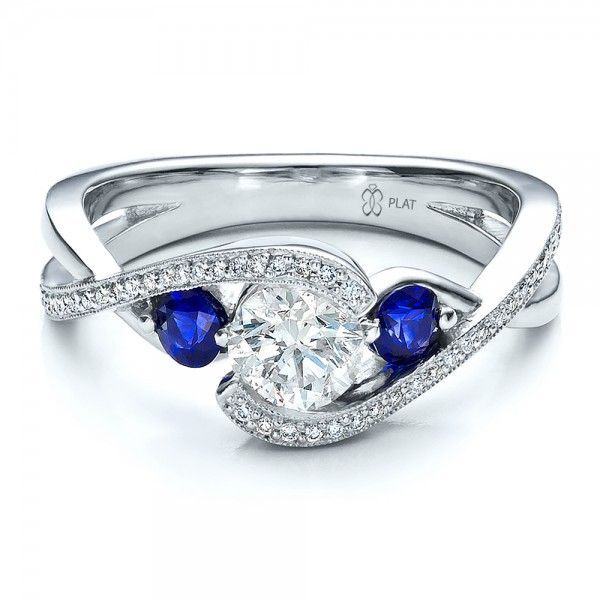 Custom Blue Sapphire and Diamond Engagement Ring | Joseph Jewelry Seattle Bellevue  My something blue