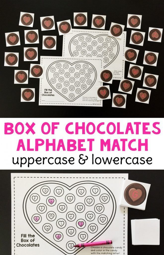 FREE printable hearts Box of Valentine Chocolates Alphabet Match for preschool, pre-k, kindergarten to practice uppercase and lowercase letters!