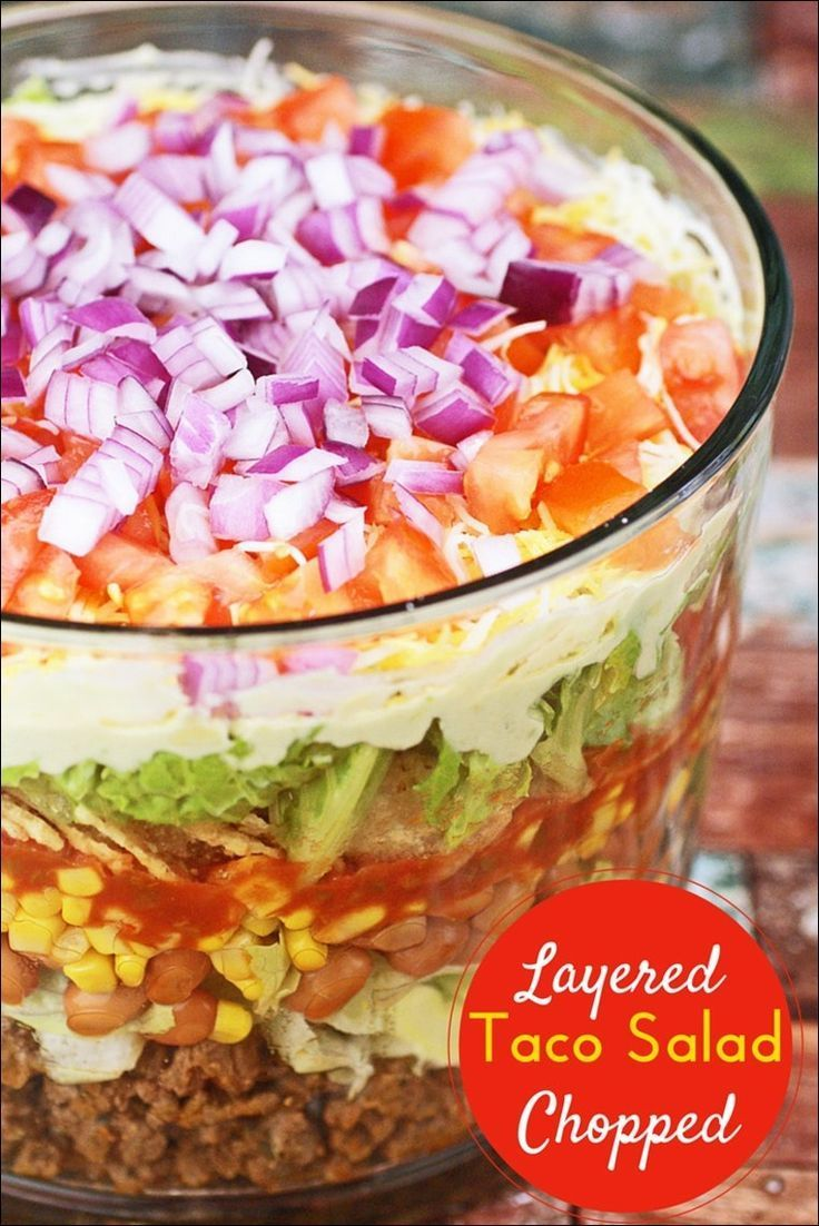 Need a salad recipe to bring to a potluck? Try this Layered Chopped Taco Salad. From This Mama Cooks! On a Diet