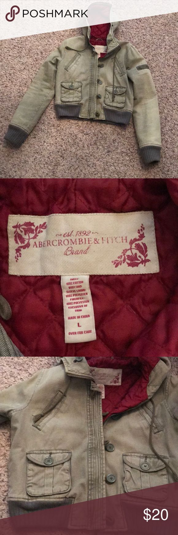 Abercrombie and Fitch jacket Army green Abercrombie and Fitch jacket. Lots of pockets and in great shape! Inside is lined with red fabric. Junior size L Abercrombie & Fitch Jackets & Coats