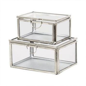 kleine Glasboxen, Nickel, 2er Set
