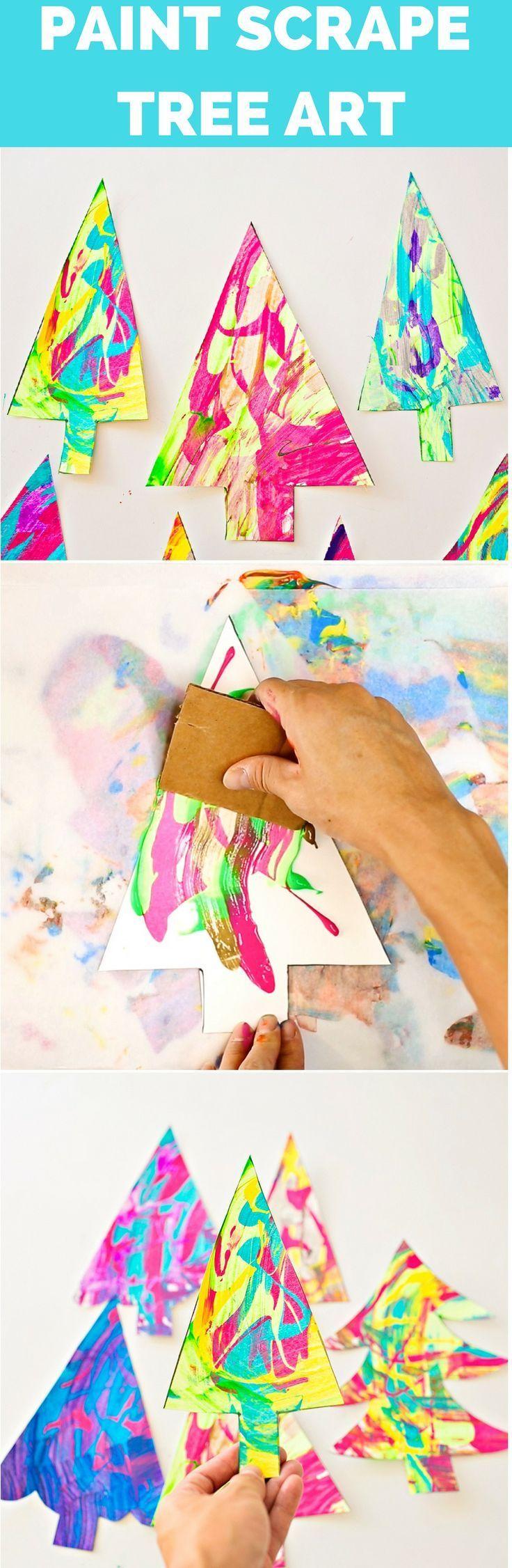 Paint Scrape Christmas Tree Art | Reggio Inspired Activities | Loose Parts Ideas | Hands On Learning Activities | Reggio Christmas | Christmas Art