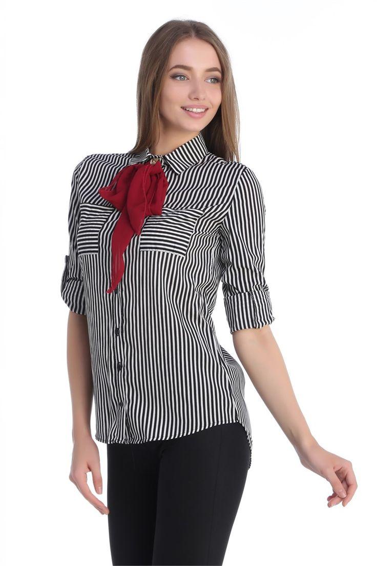 Kravatlı Çizgili Gömlek Siyah-Beyaz   Rays Giyim