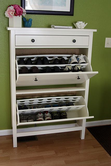 $140 at IKEA I NEED this for shoe storage... it would be sooo perfect. Hemnes shoe storage, comes in black-brown!