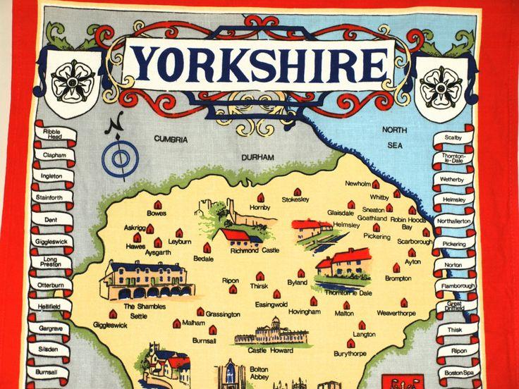 Yorkshire Souvenir Tea Towel by artist Clive Mayor - Vista Cotton Yorkshire Tea Towel - New Old Stock by FunkyKoala on Etsy