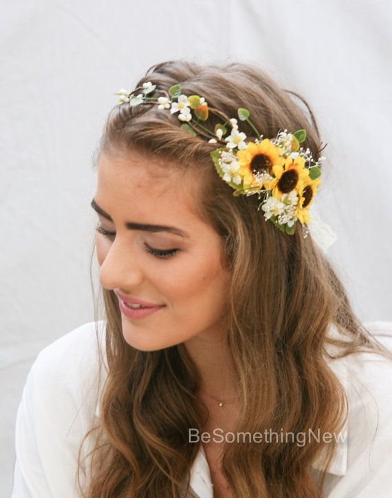 Sunflower Flower Crown with Green Leaves and Babies Breath. Yellow Floral Halo.  This floral wedding hair wreath has pretty little sunflowers set on one side. The base of the headpiece is wired ivory berries and tiny green leaves and some small ivory daises, I also added in some babies breath tucked in with the sunflowers to give it a rustic soft look. It ties in the back with vintage ivory lace. This would be great for a bride, a bridesmaid or a flower girl and is fully adjustable to fit…