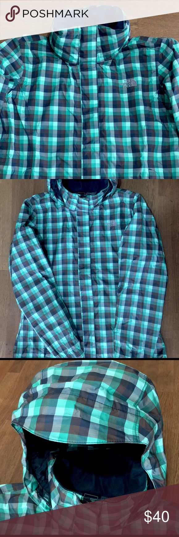North Face Windbreaker Size M Turquoise, Brown & Navy Blue Check Hooded Windbreaker Jacket North Face Jackets & Coats Utility Jackets