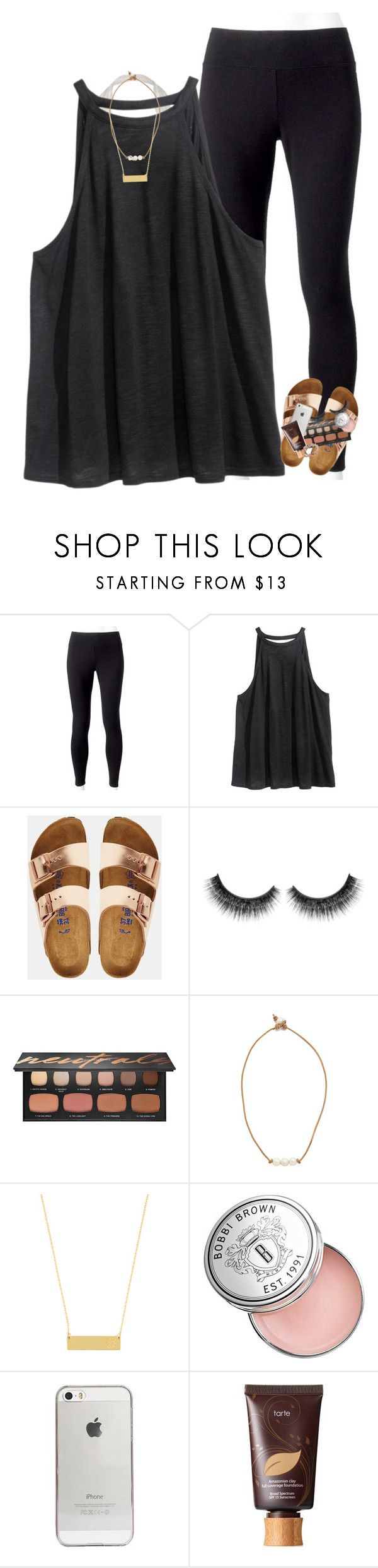 """I have a long day ."" by morgankailah ❤ liked on Polyvore featuring Jockey, H&M, Birkenstock, Bare Escentuals, Lead, BaubleBar, Bobbi Brown Cosmetics, Agent 18 and tarte"
