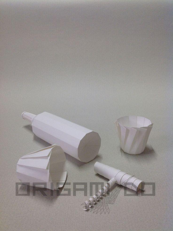 Origami Bottiglia, Bicchieri e Cavatappi