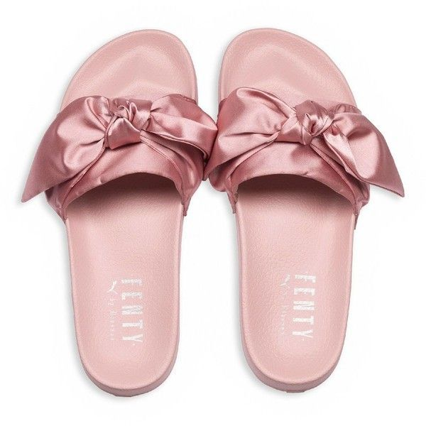 Fenty Puma x Rihanna Women's Satin Bandana Pool Slide Sandals (96 PAB) ❤ liked on Polyvore featuring shoes, sandals, puma footwear, puma shoes, slide sandals, satin shoes and satin sandals