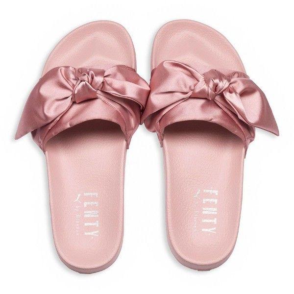 Fenty Puma x Rihanna Women's Satin Bandana Pool Slide Sandals (96 PAB) ❤ liked on Polyvore featuring shoes, sandals, puma footwear, puma shoes, slide sandals, satin shoes and satin sandals