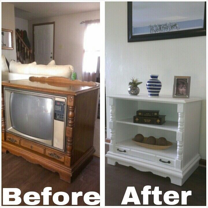 Old console TV turned into cabinet