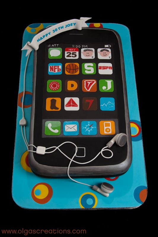 iPhone cake - Customer asked us to make a cake representing one thing her husband can't live without....his iPhone. She wanted the apps to represent all the other things he can't live without, like his twin boys, steaks, country music, and more. So that's what we did. This iPhone is a 4x scale replica. That's 18 x 10 Inches. Can you hear me NOW! Hope you enjoy it.