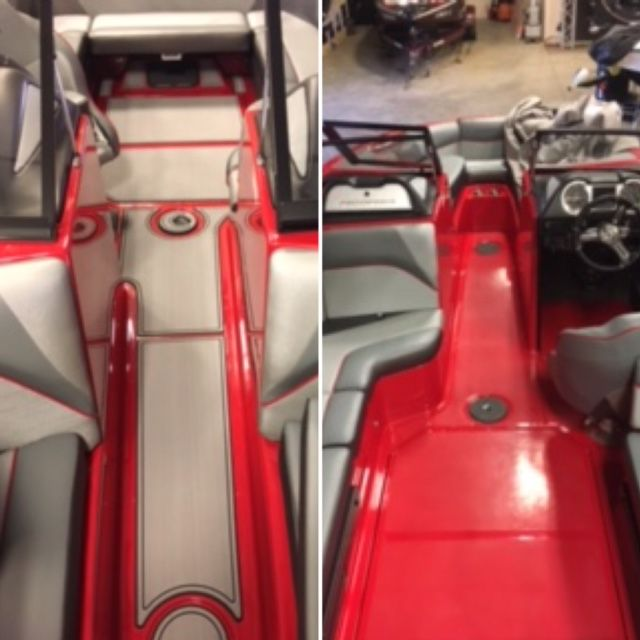 SC Wake SeaDek transformation of a 2016 Moomba Craz completed by installer Chris Geng at The Boat House of Chicago! The client chose 6mm Brushed Storm Grey over Black with Border Trim. The customer couldn't have made a better choice! The contrast with the existing red floor is stunning! The Boat House is a Top 100 dealer in the boating industry and has 7 different locations: 3 in Wisconsin (Lake Geneva, Lauderdale Lakes, Lake County),  1 in Chicago and 3 in Florida (Naples, Port Charlotte…