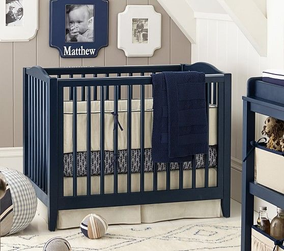 Inspiration for blue cribs - Emerson Mini Crib & Mattress Set | Pottery Barn Kids