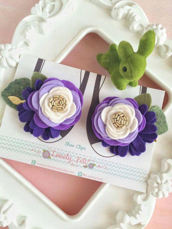 Felt Flower Shoe Clips. Flower Girl Shoe Clips. by LovelyFeltShop