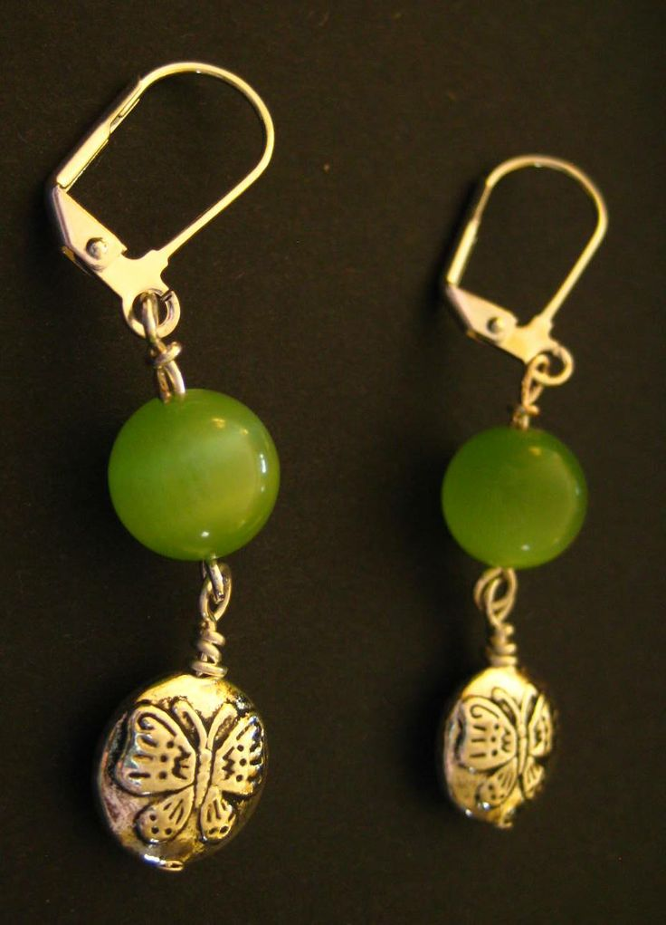 Catseye & Butterfly Earrings - Green catseye stone and butterfly drops. Leverback style earring hooks.  $2.99 available at http://www.beaddesignsbysandy.com/shop/clearance-items/