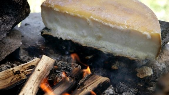 Raclette over the fire, Switzerland