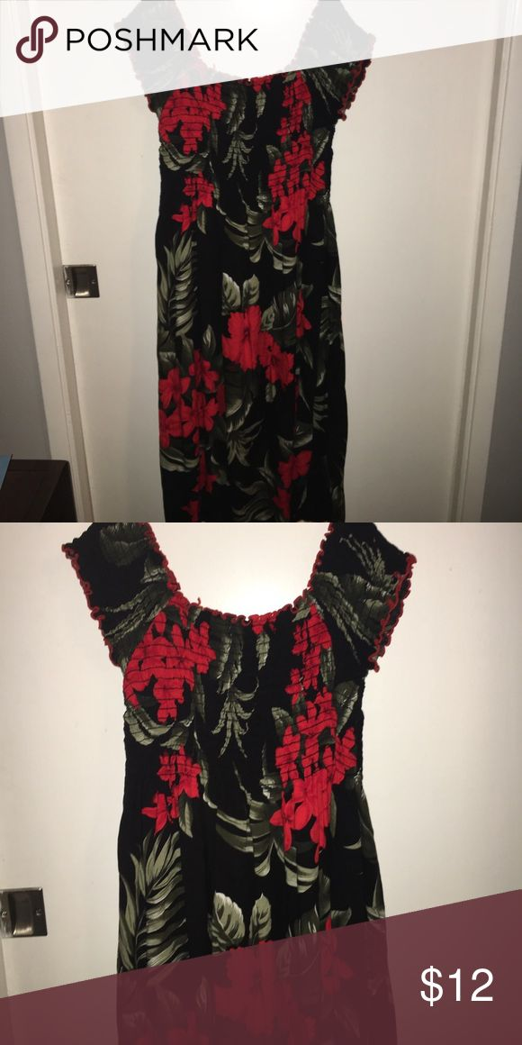 Black & Red Hawaiian Style Off The Shoulder Dress Black & Red Hawaiian Style Off The Shoulder Dress. Long midi dress, new without tags. Medium/Large stretchy fabric. Dresses Midi