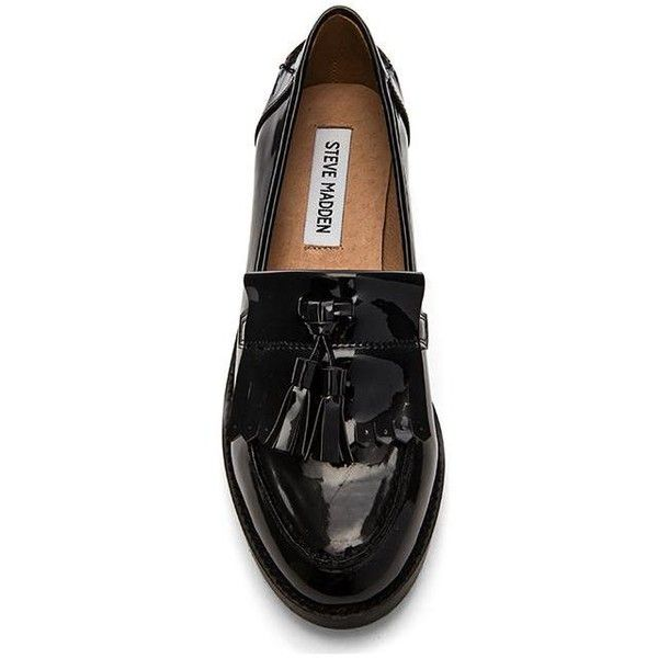 Steve Madden Meelia Loafer Shoes (£52) ❤ liked on Polyvore featuring shoes, loafers, flats, low heel flats, tassel shoes, small heel shoes, steve madden y tassel loafers
