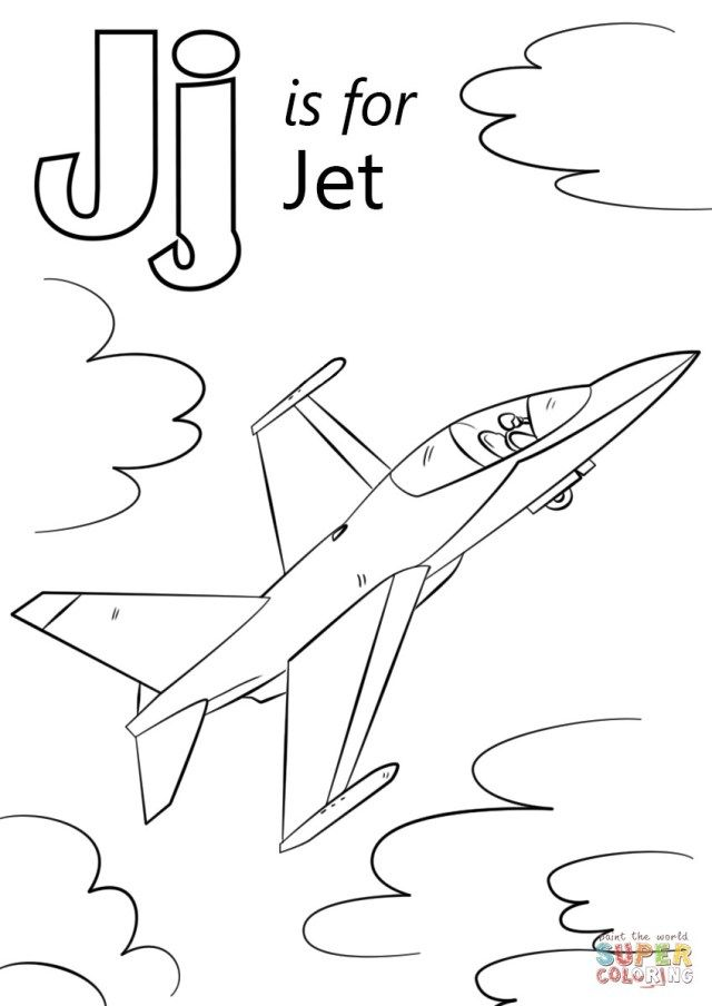 27 Best Image Of Jet Coloring Pages Letter J Crafts Airplane