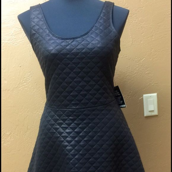 """Black quilted """"leather look"""" dress. Very light weight but looks like leather !! Other Dresses Mini"""