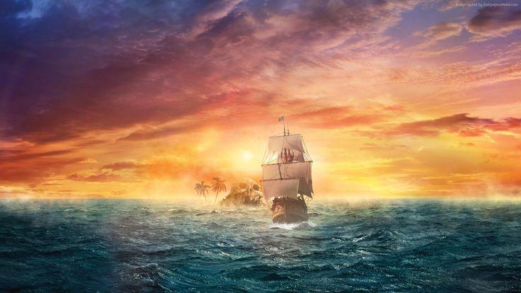 pirate ship wallpaper art