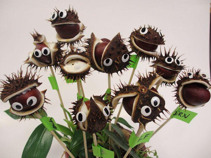 Kastanienmonster! Mal was ganz Anderes mit Kastanien, und eine super Idee - auch als Halloween-Deko geeignet... Was meint Ihr?  (Auf der Seite müsst Ihr ein bisschen runterscrollen, aber für diese tolle DIY-Idee lohnt es sich wirklich!)