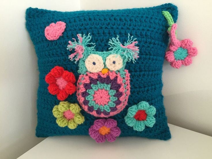 OWL CUSHION, 14 x 14 approx, crochet... BEAUTIFULLY HAND MADE.....