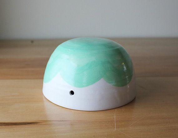 Mint Green Cloud Hanging Planter  whimsical ceramics by Beardbangs