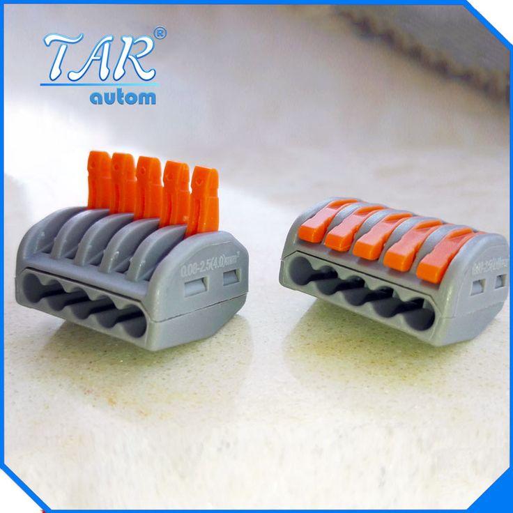 50 unids Envío Libre PCT-215 Empuje conector de cableado Con Palanca de Conductor de cable AWG 28-12 bloque de terminales wago 222