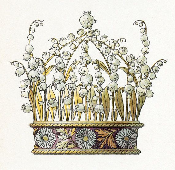 Anton Seder Crown No. 7 Lily of the Valley Daisies Repro Fabric Block. $9.99, via Etsy.