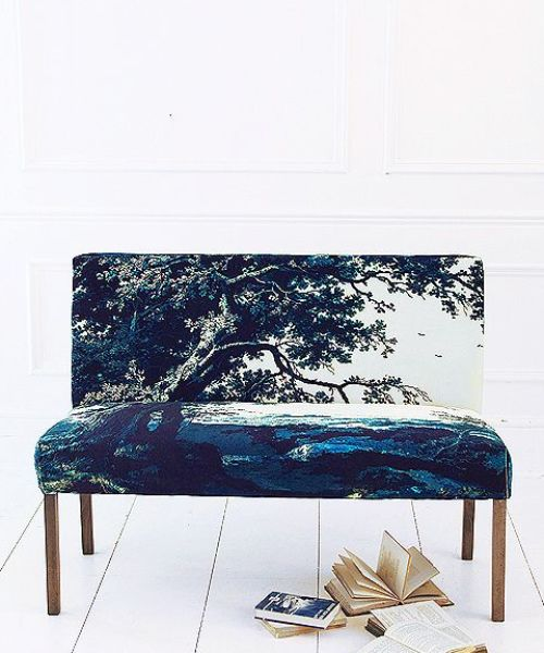 Our exclusive range of made-to-order upholstery includes our fabulous Soho Loft banquette seat in Trees Two Blue sumptuous printed cotton velvet also