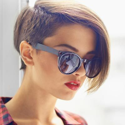 Love undercut hair on one side. It's easy to grow out with short hair!