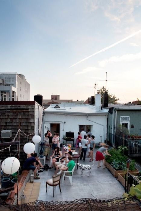 #celebratecolorfully rooftop garden partyFriends, Decks, Vegetables Gardens, Roof Terraces, Summer Night, Outdoor Spaces, Gardens Parties, Rooftops Patios, Rooftops Parties