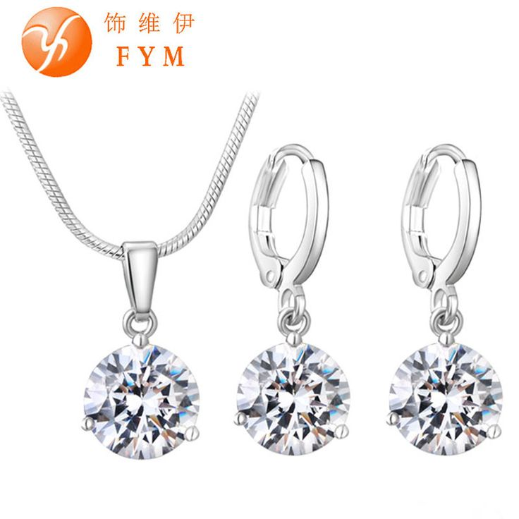 Round Cubic Zircon Hypoallergenic Copper Necklace/Earrings Jewelry Set //Price: $9.99 & FREE Shipping //     #hashtag4