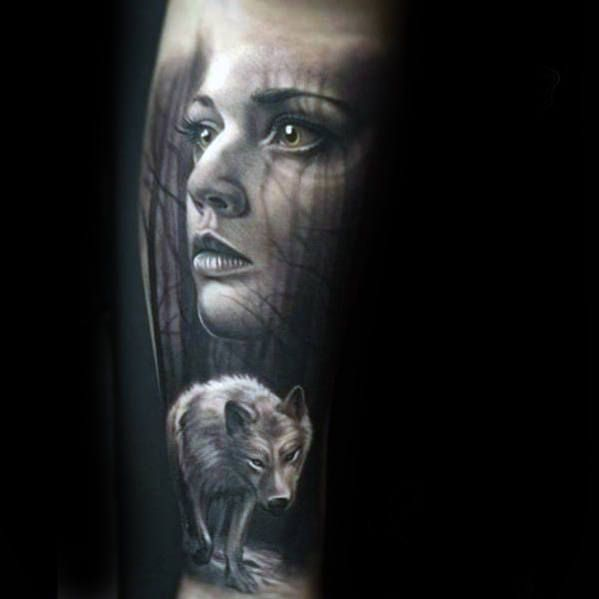 50 Realistic Wolf Tattoo Designs For Men Canine Ink Ideas Wolf Tattoo Design Tattoo Designs Men Wolf Tattoo