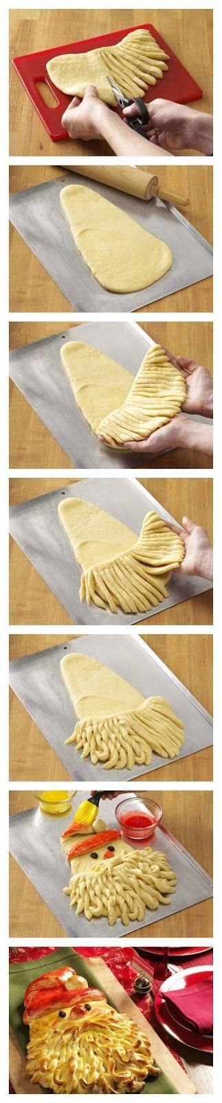 Ricette originali in una foto: babbo natale di pasta di pane o sfoglia