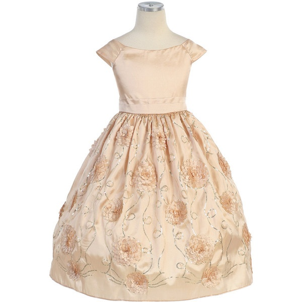 Light Gold Flower and Sequins Embroidered Taffeta Dress via Polyvore: Holiday Dresses, Flowers Girls Dresses, Sweet Kids, Dresses Style, Christmas Holidays, Gold Sequins, Flower Girl Dresses, Holidays Dresses, Flower Girls