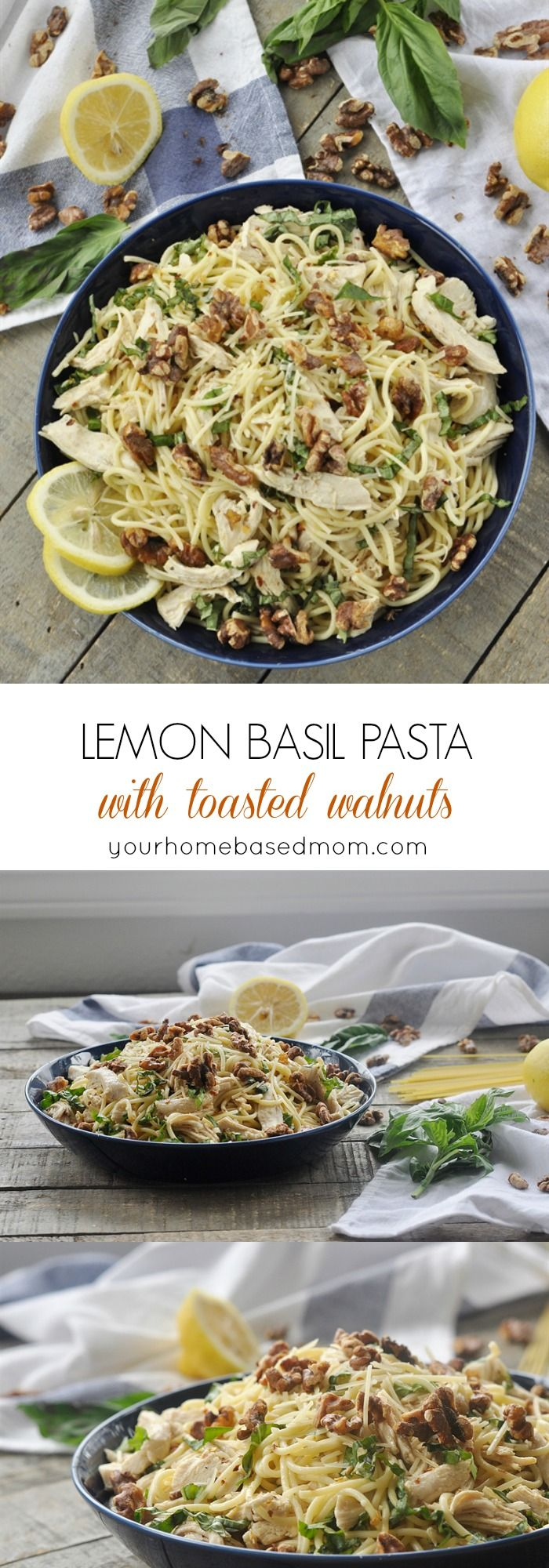 Lemon Basil Pasta with Toasted Walnuts Recipe -  I have used leftover cooked chicken or turkey in it or if you don't have any leftover chicken just cut up a chicken breast or two and cook it in some olive oil and salt and pepper and add to the pasta.