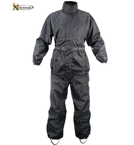 Xelement Mens 2 Piece Black Motorcycle Rain Suit With Boot Strap - Large http://www.motorcyclegoods.com/15-best-rain-suits/