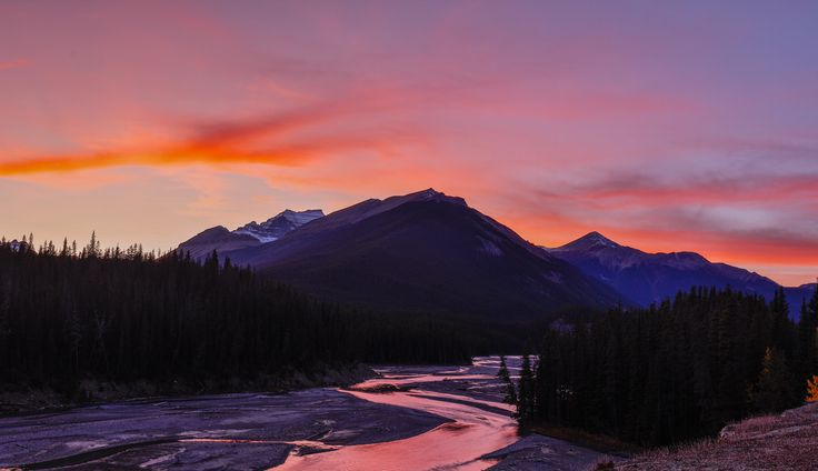 icefields parkway sunset - I just had to stop here for this sunset just off the Icefields Parkway in the Canadian rocky mountains. The sunsets here are spectacular.