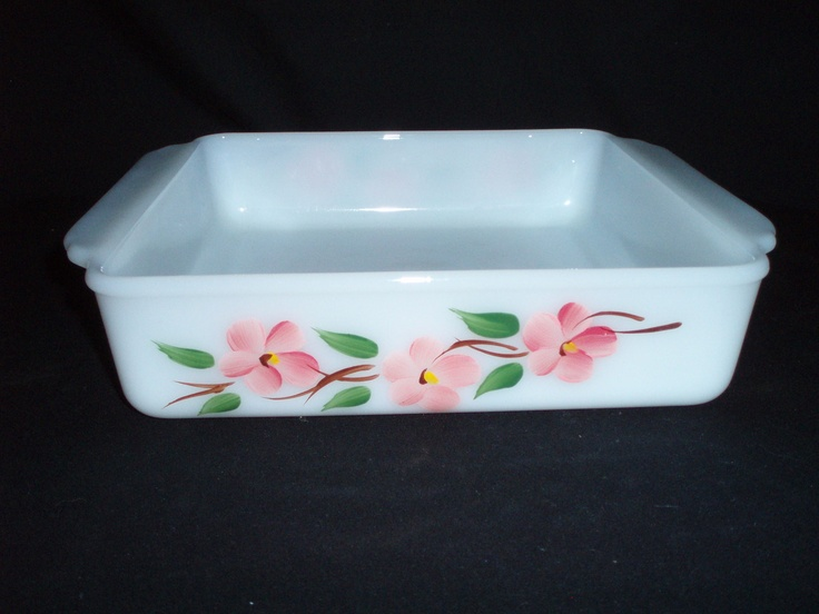 Pyrex Fire King Peach Blossom 8 Square Oven Dish Gay Fad FREE SHIP 28 OBO