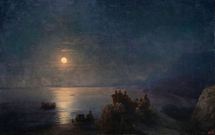 Ivan Konstantinovich Aivazovsky. Classical Poets on a Moonlit Shore in Ancient Greece, Original Size: 94 x 146 cm, Date: 1896. Buy this painting as premium quality canvas art print from Modarty Art Gallery. #art, #canvas, #design, #painting, #print, #poster, #decoration