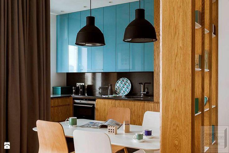 Kuchnia z niebieskim akcentem - zdjęcie od Piotr Skorupski Studio Architektury - Kuchnia - Styl Nowoczesny - Piotr Skorupski Studio Architektury
