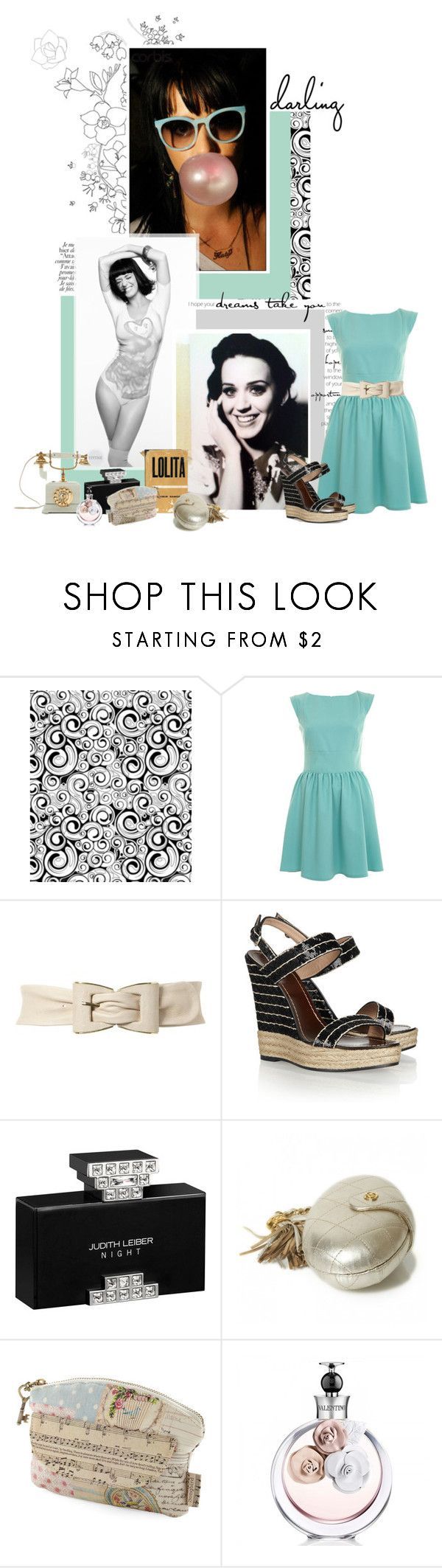 """""""Oh boy, tell me your fantasy, tonight Im dressing up for you"""" by tania-l ❤ liked on Polyvore featuring Miss Selfridge, Jane Norman, Valentino, Leiber, Chanel, Disaster Designs, valentino wedges and katy perry"""