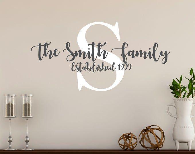 Custom Last Name Monogram Vinyl Decal Set Family Vinyl Wall
