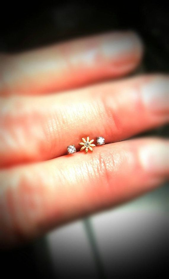 Gold Flower Clear Tragus Cartilage Earring Ring by ABodyJewelry
